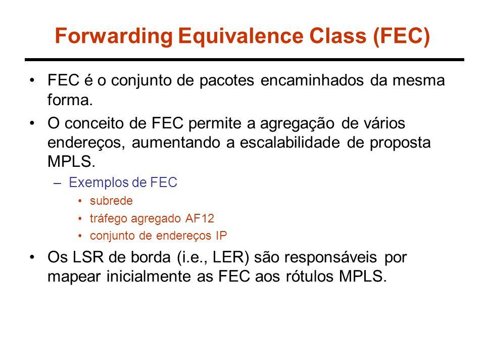 Forwarding Equivalence Class (FEC) FEC é o conjunto de pacotes encaminhados da mesma forma.