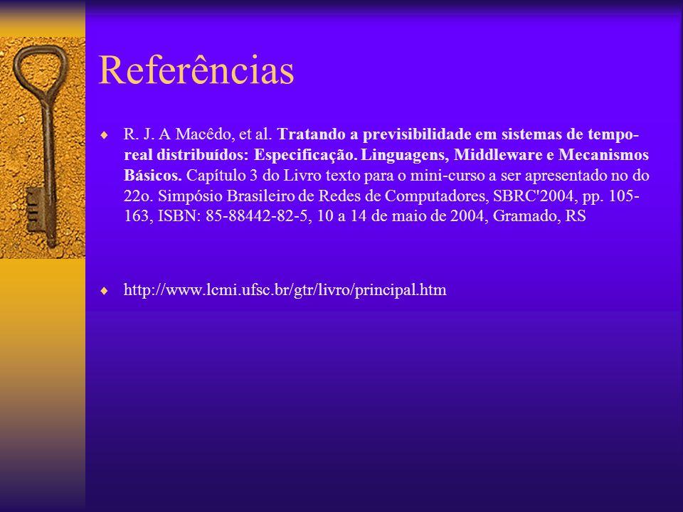 Referências R. J. A Macêdo, et al. Tratando a previsibilidade em sistemas de tempo- real distribuídos: Especificação. Linguagens, Middleware e Mecanis