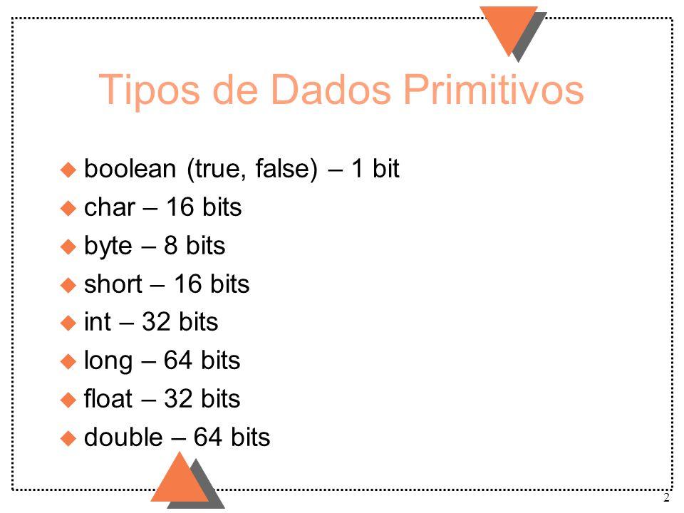 2 Tipos de Dados Primitivos u boolean (true, false) – 1 bit u char – 16 bits u byte – 8 bits u short – 16 bits u int – 32 bits u long – 64 bits u floa