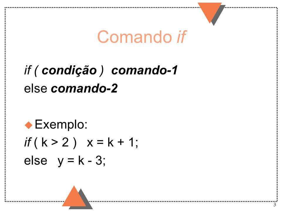 3 Comando if if ( condição ) comando-1 else comando-2 u Exemplo: if ( k > 2 ) x = k + 1; else y = k - 3;