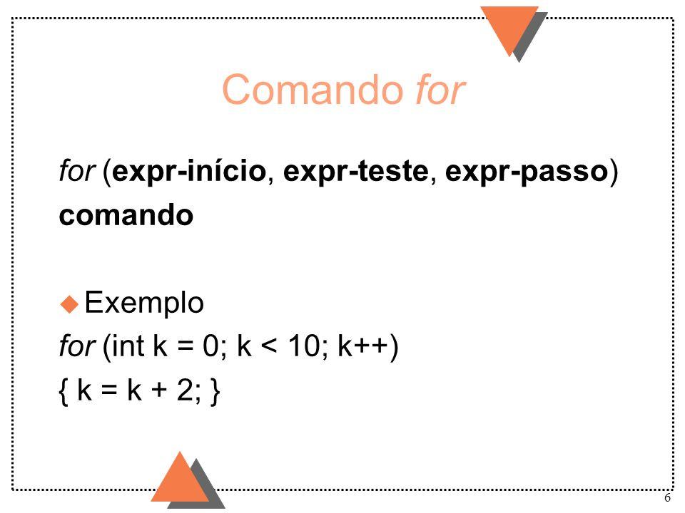 6 Comando for for (expr-início, expr-teste, expr-passo) comando u Exemplo for (int k = 0; k < 10; k++) { k = k + 2; }