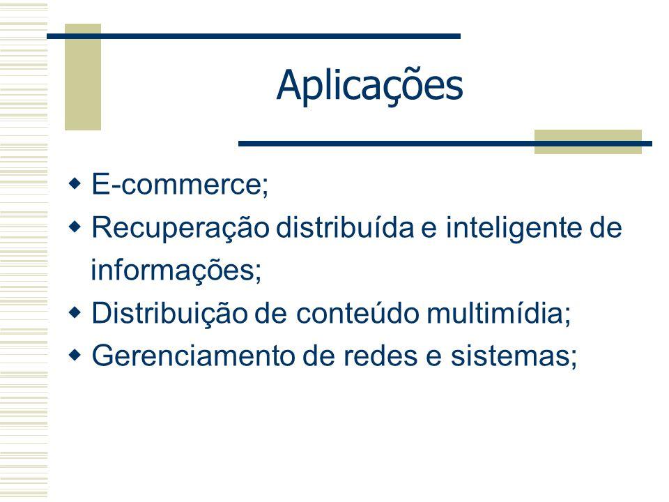Aplicações E-commerce; Recuperação distribuída e inteligente de informações; Distribuição de conteúdo multimídia; Gerenciamento de redes e sistemas;