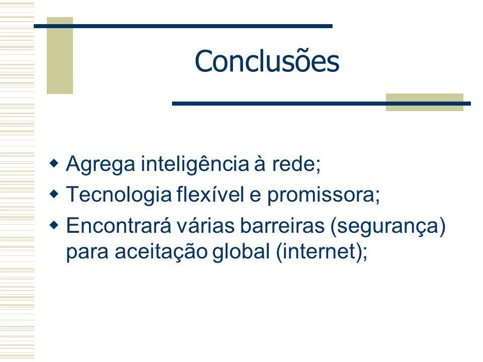 Conclusões Agrega inteligência à rede; Tecnologia flexível e promissora; Encontrará várias barreiras (segurança) para aceitação global (internet);
