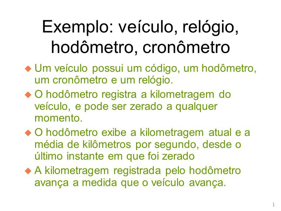 1 Exemplo: veículo, relógio, hodômetro, cronômetro u Um veículo possui um código, um hodômetro, um cronômetro e um relógio. u O hodômetro registra a k
