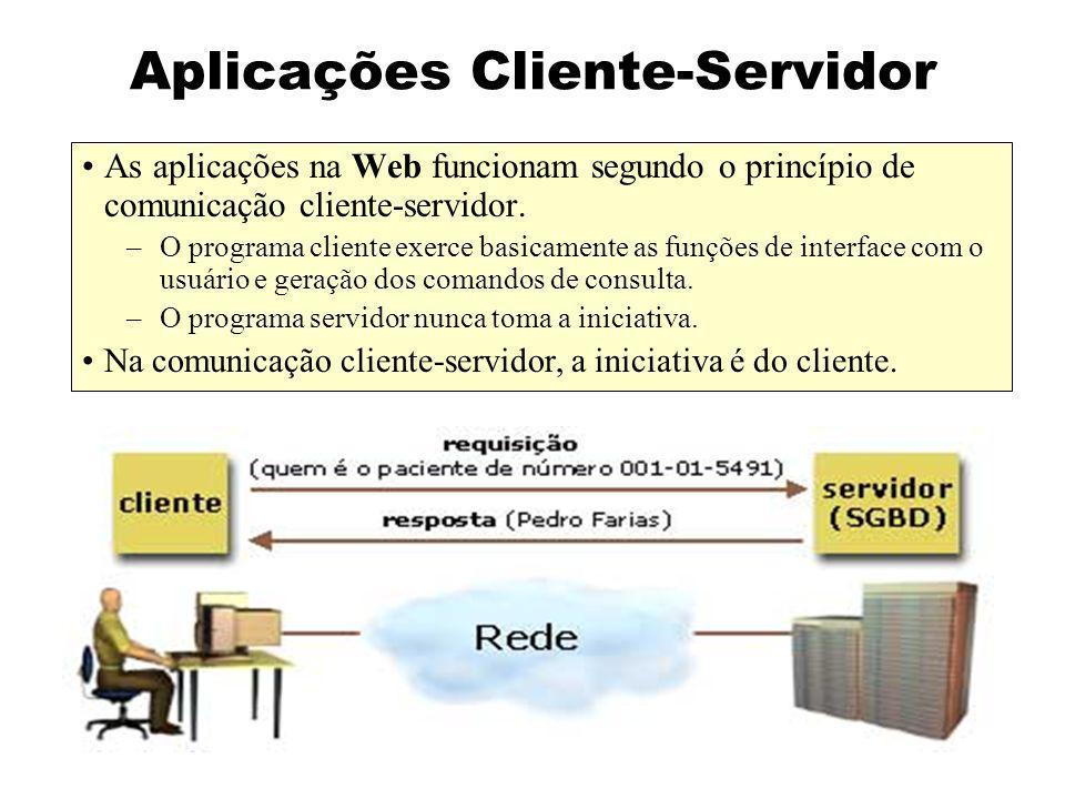 Aplicações Cliente-Servidor As aplicações do tipo cliente-servidor são logicamente divididas em três camadas: –lógica de apresentação –lógica de negócio –lógica de acesso aos dados Lógica de Apresentação Acesso aos Dados Lógica de Negócio CLIENTE SERVIDOR