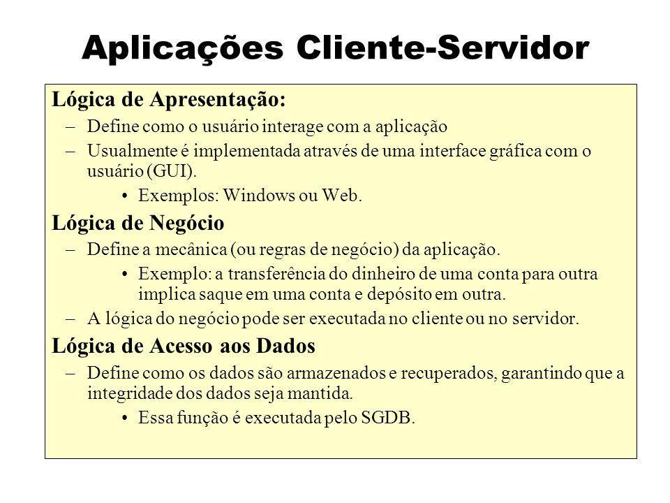 Aplicações Cliente-Servidor Lógica de Apresentação: –Define como o usuário interage com a aplicação –Usualmente é implementada através de uma interfac