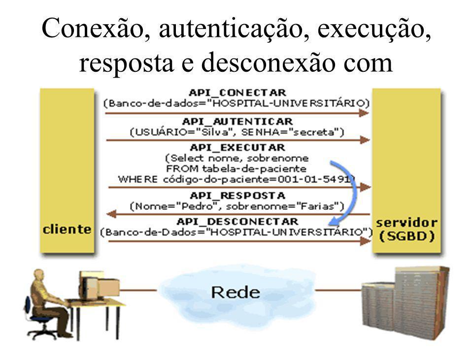 Conexão, autenticação, execução, resposta e desconexão com SGDB