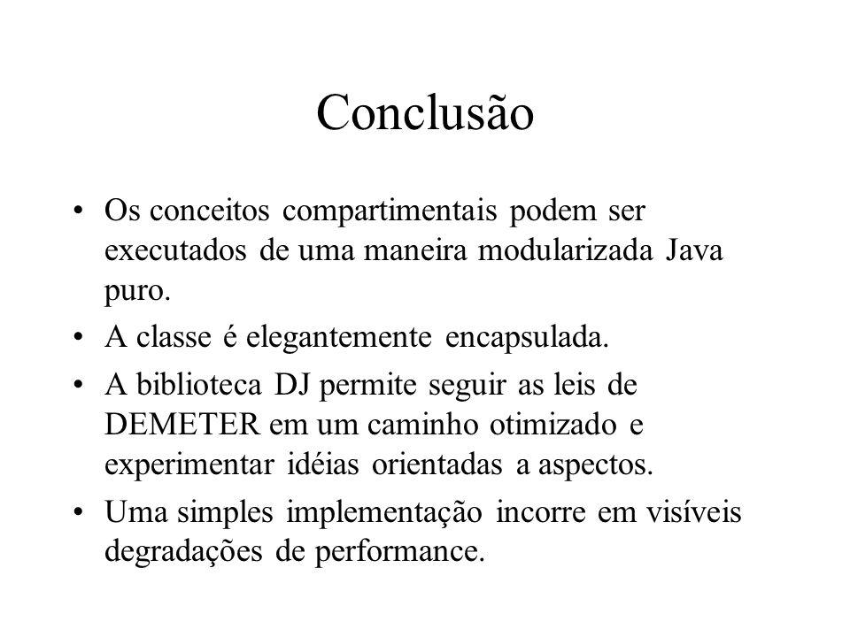 Conclusão Os conceitos compartimentais podem ser executados de uma maneira modularizada Java puro.