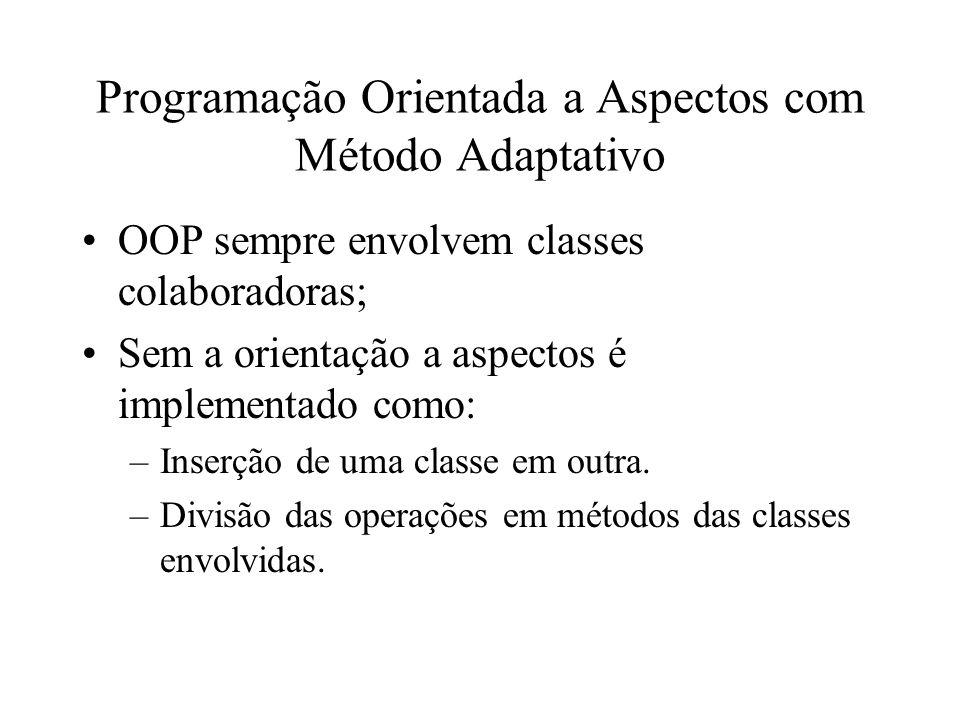 Programação Orientada a Aspectos com Método Adaptativo OOP sempre envolvem classes colaboradoras; Sem a orientação a aspectos é implementado como: –Inserção de uma classe em outra.