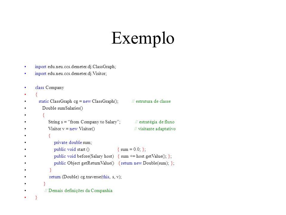Exemplo inport edu.neu.ccs.demeter.dj.ClassGraph; inport edu.neu.ccs.demeter.dj.Visitor; class Company { static ClassGraph cg = new ClassGraph(); // estrutura de classe Double sumSalaries() { String s = from Company to Salary; // estratégia de fluxo Visitor v = new Visitor() // visitante adaptativo { private double sum; public void start () { sum = 0.0; }; public void before(Salary host) { sum += host.getValue(); }; public Object getReturnValue() { return new Double(sum); }; } return (Double) cg.traverse(this, s, v); } // Demais definições da Companhia }