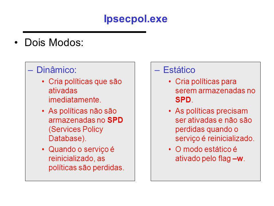 Ipsecpol.exe Dois Modos: –Dinâmico: Cria políticas que são ativadas imediatamente. As políticas não são armazenadas no SPD (Services Policy Database).