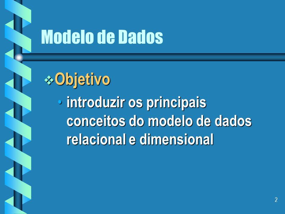 2 Modelo de Dados Objetivo Objetivo introduzir os principais conceitos do modelo de dados relacional e dimensional introduzir os principais conceitos do modelo de dados relacional e dimensional