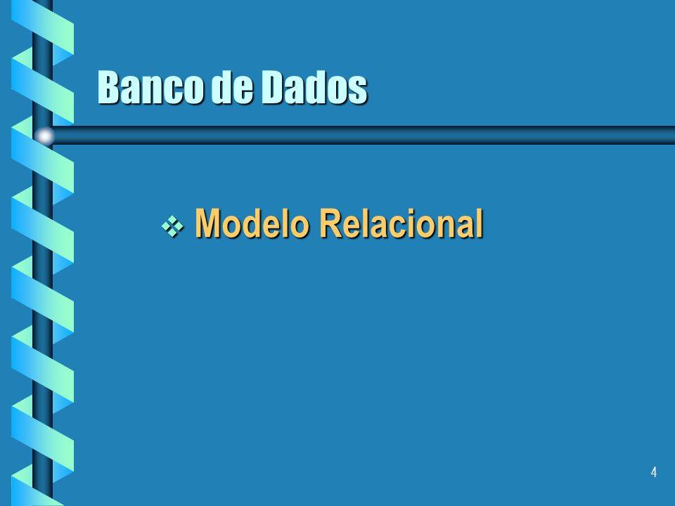 14 Características do Modelo Relacional Reduz a redundância das informações armazenadas, diminuindo o espaço total gasto para armazenar-las.