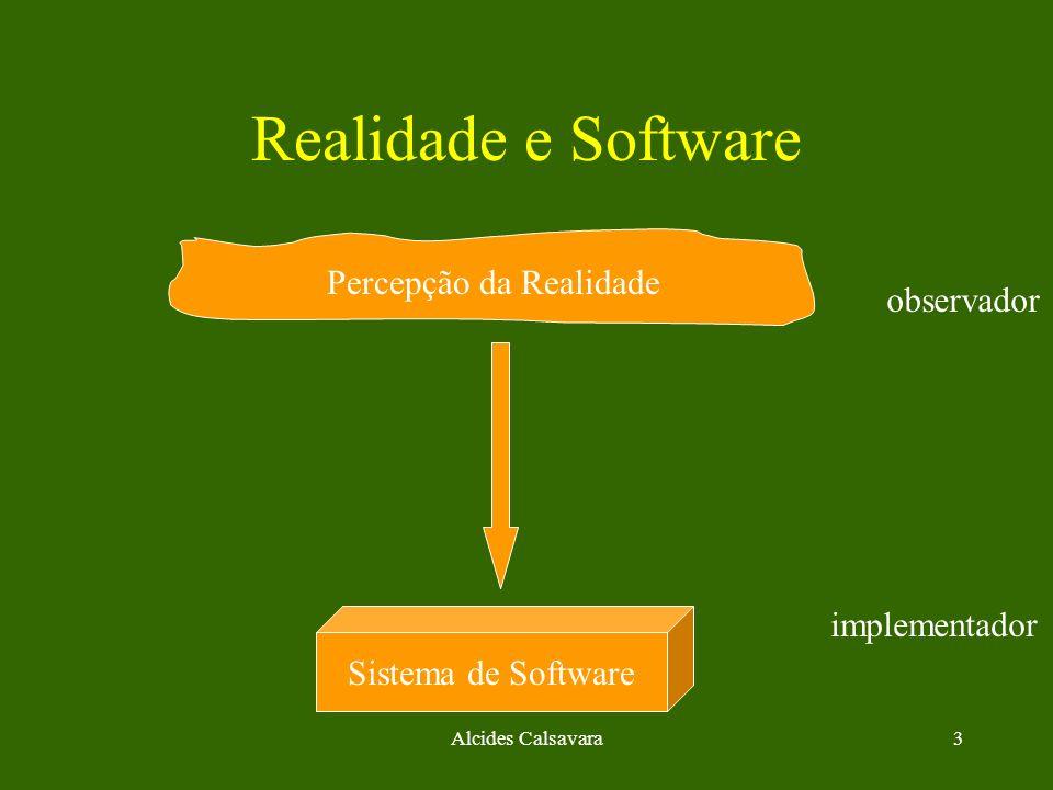 Alcides Calsavara3 Realidade e Software Percepção da Realidade Sistema de Software observador implementador