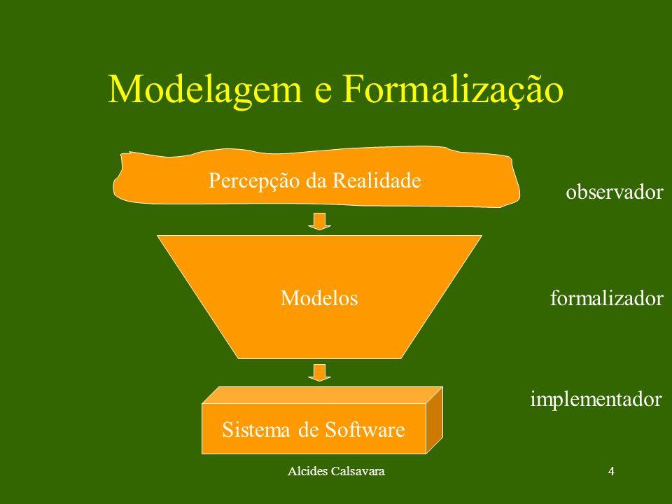 Alcides Calsavara4 Modelagem e Formalização Percepção da Realidade Sistema de Software Modelos observador formalizador implementador