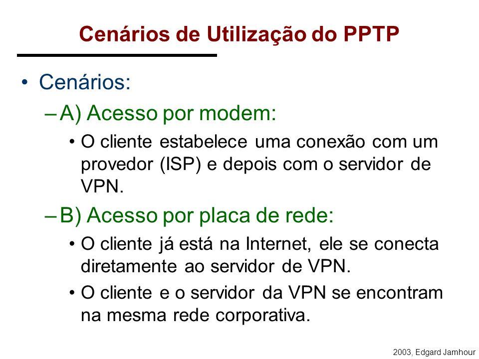 2003, Edgard Jamhour PPTP: Point-to-Point tunneling Protocol Definido pelo PPTP Forum: –Ascend Communication, U.S. Robotics, 3Com Corporation, Microso