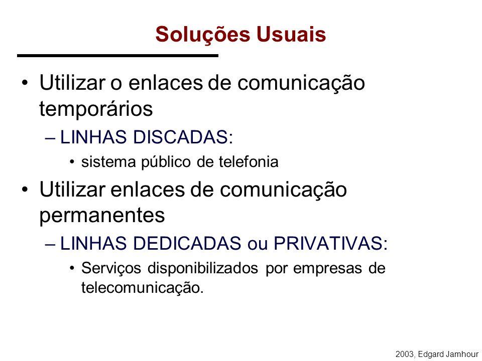 2003, Edgard Jamhour Soluções Usuais Utilizar o enlaces de comunicação temporários –LINHAS DISCADAS: sistema público de telefonia Utilizar enlaces de comunicação permanentes –LINHAS DEDICADAS ou PRIVATIVAS: Serviços disponibilizados por empresas de telecomunicação.