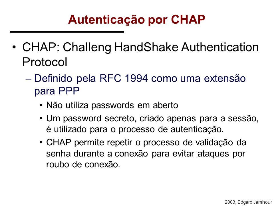 2003, Edgard Jamhour Segurança do PPTP PPTP fonece dois serviços de segurança: –Autenticação –Criptografia de Dados Diversos tipos de autenticação pod