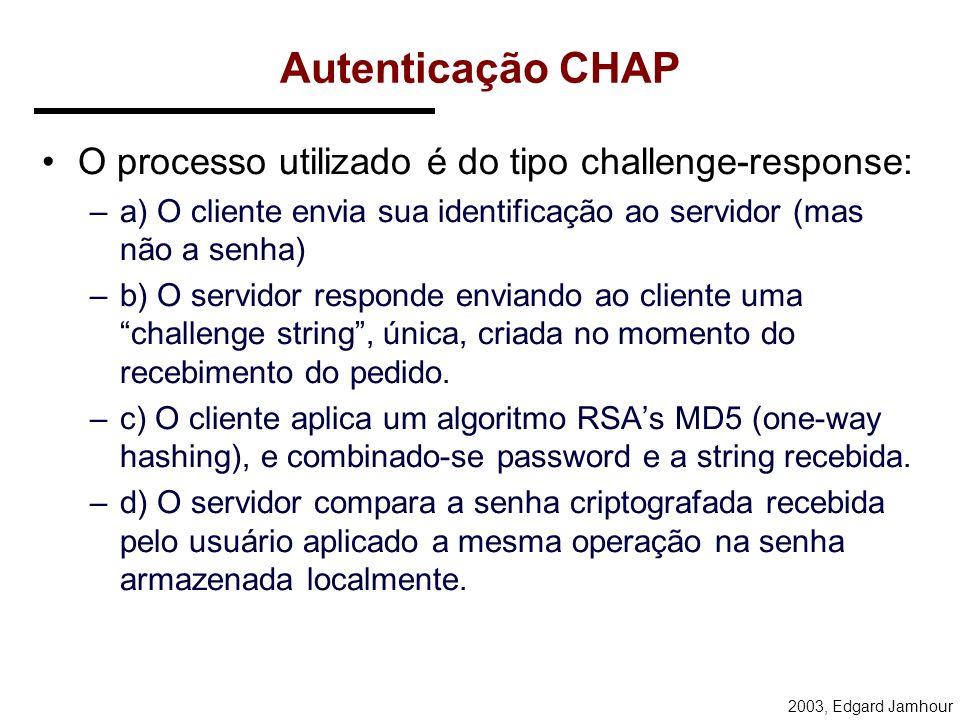 2003, Edgard Jamhour Autenticação por CHAP CHAP: Challeng HandShake Authentication Protocol –Definido pela RFC 1994 como uma extensão para PPP Não uti