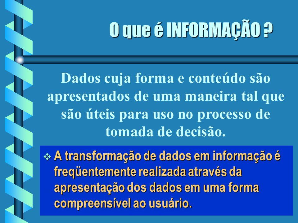 O que é DADO ? Dado é a estrutura fundamental sobre a qual um sistema de informação é construído. Dado é a estrutura fundamental sobre a qual um siste