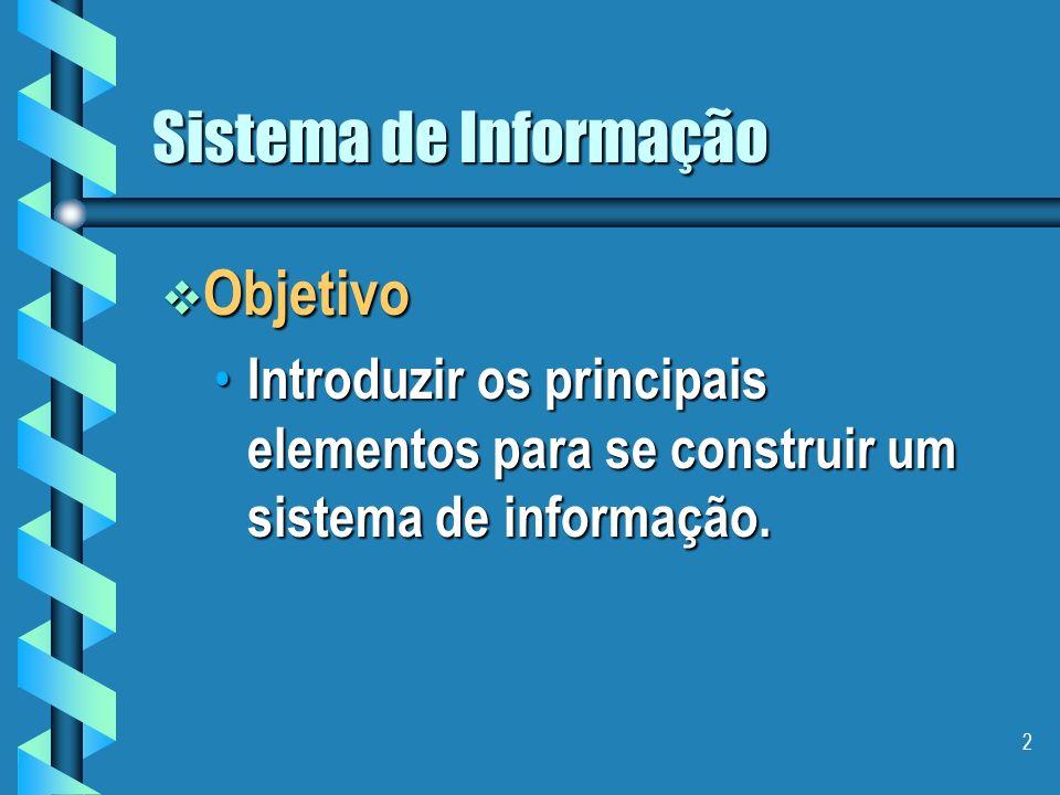 2 Sistema de Informação Objetivo Objetivo Introduzir os principais elementos para se construir um sistema de informação.