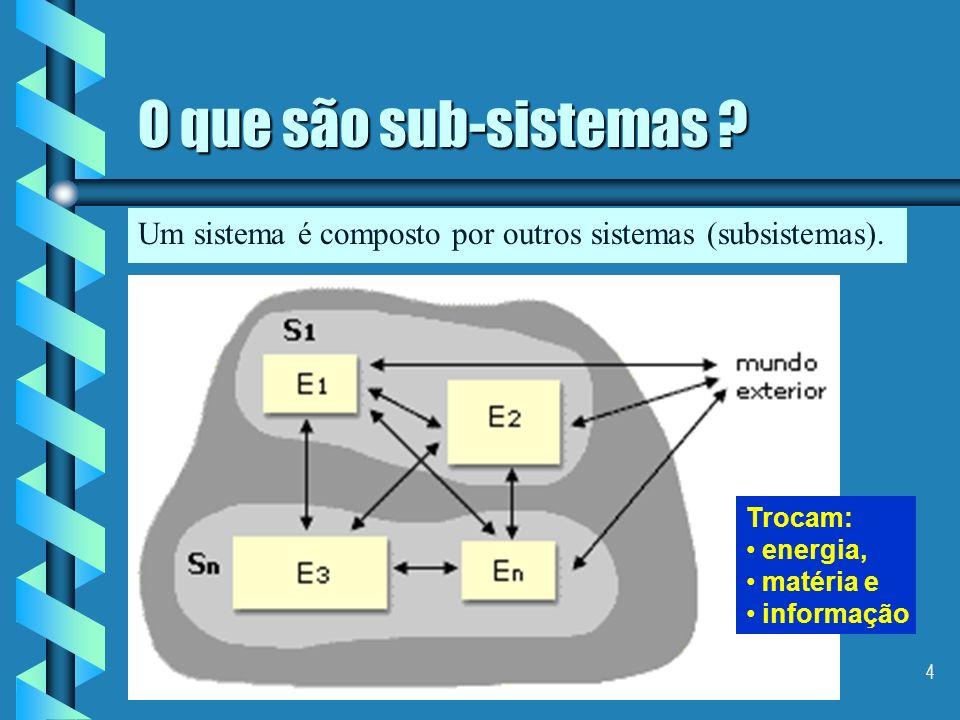3 O que é um sistema ? É um conjunto de elementos inter-relacionados, os quais trocam energia, matéria e informação entre os elementos que o compõem e