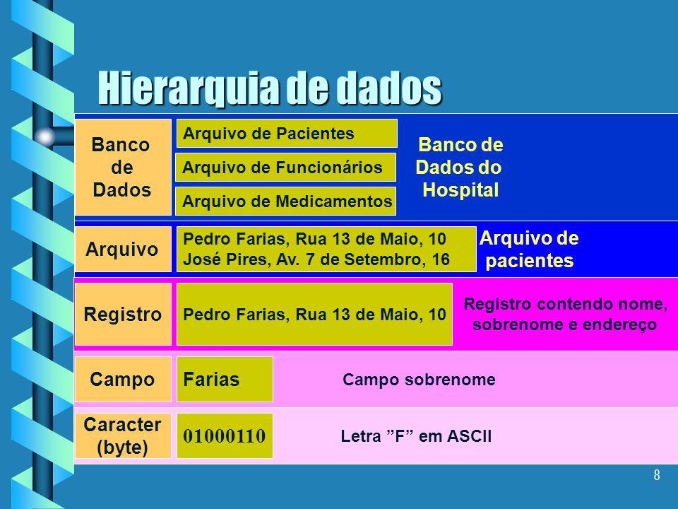 8 Hierarquia de dados Caracter (byte) 01000110 Letra F em ASCII CampoFarias Campo sobrenome Registro Pedro Farias, Rua 13 de Maio, 10 Registro contendo nome, sobrenome e endereço Arquivo Pedro Farias, Rua 13 de Maio, 10 José Pires, Av.