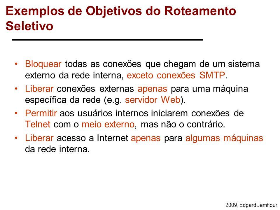 2009, Edgard Jamhour Exemplos de Objetivos do Roteamento Seletivo Bloquear todas as conexões que chegam de um sistema externo da rede interna, exceto