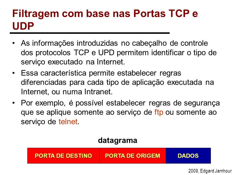 2009, Edgard Jamhour Filtragem com base nas Portas TCP e UDP As informações introduzidas no cabeçalho de controle dos protocolos TCP e UPD permitem id