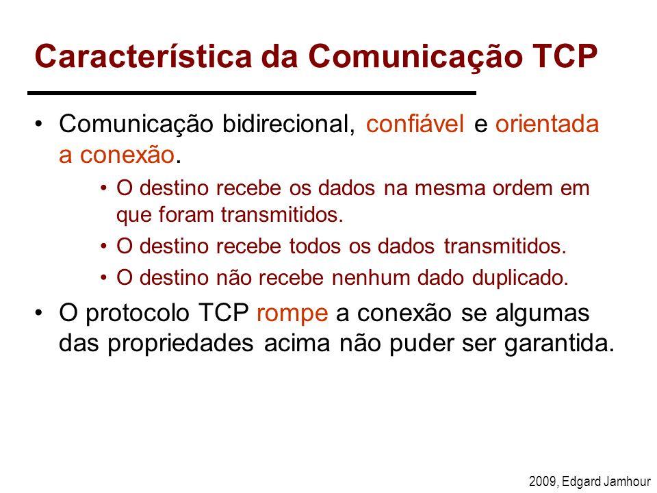 2009, Edgard Jamhour Característica da Comunicação TCP Comunicação bidirecional, confiável e orientada a conexão. O destino recebe os dados na mesma o