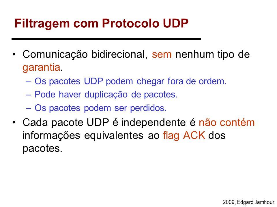 2009, Edgard Jamhour Filtragem com Protocolo UDP Comunicação bidirecional, sem nenhum tipo de garantia. –Os pacotes UDP podem chegar fora de ordem. –P