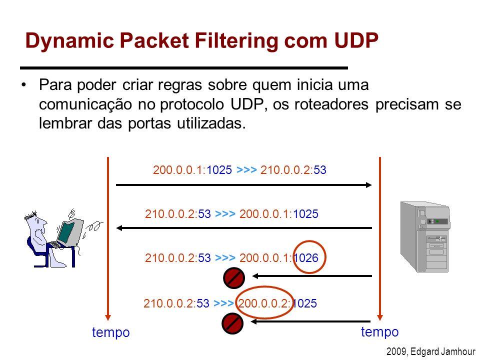2009, Edgard Jamhour Dynamic Packet Filtering com UDP Para poder criar regras sobre quem inicia uma comunicação no protocolo UDP, os roteadores precis