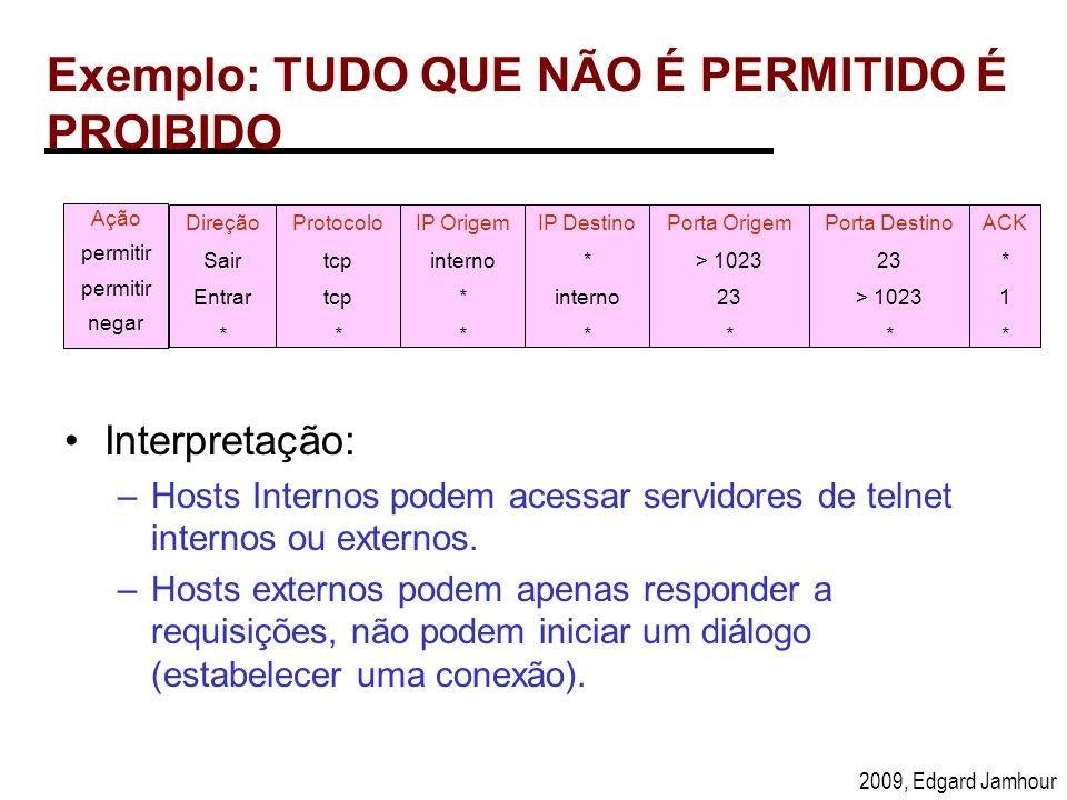 2009, Edgard Jamhour Exemplo: TUDO QUE NÃO É PERMITIDO É PROIBIDO Ação permitir negar Protocolo tcp * IP Origem interno * Porta Origem > 1023 23 * IP