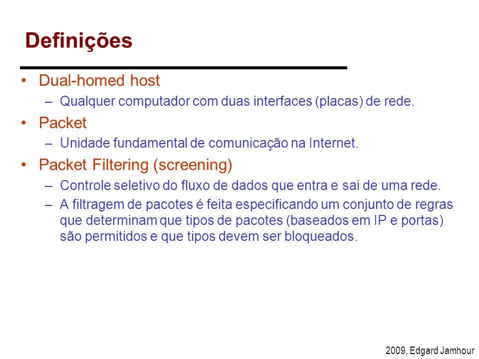 2009, Edgard Jamhour Definições Dual-homed host –Qualquer computador com duas interfaces (placas) de rede. Packet –Unidade fundamental de comunicação
