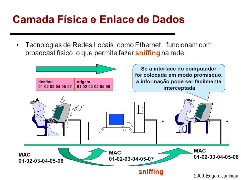 2009, Edgard Jamhour Camada Física e Enlace de Dados Tecnologias de Redes Locais, como Ethernet, funcionam com broadcast físico, o que permite fazer s
