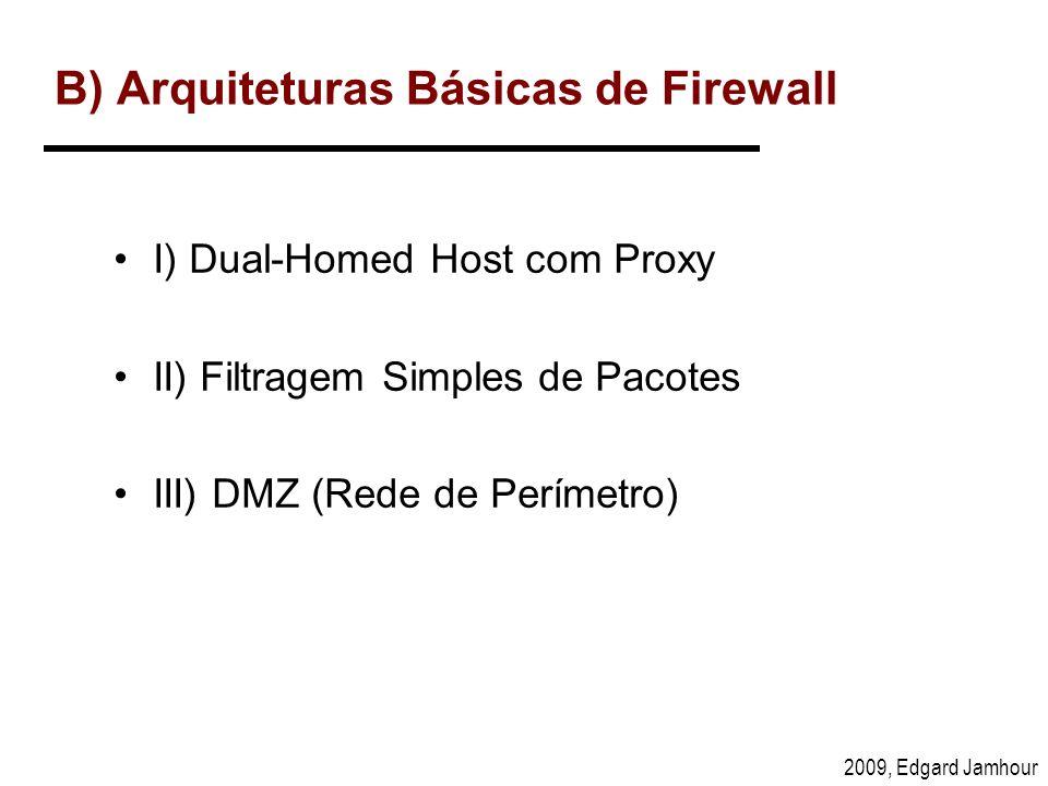 2009, Edgard Jamhour B) Arquiteturas Básicas de Firewall I) Dual-Homed Host com Proxy II) Filtragem Simples de Pacotes III) DMZ (Rede de Perímetro)