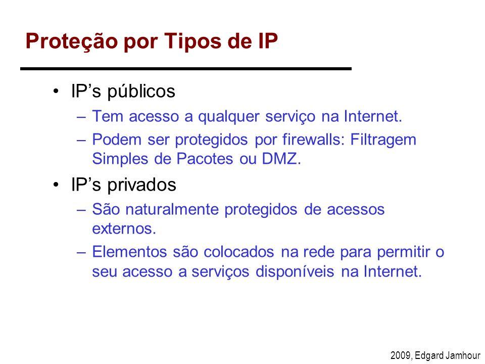 2009, Edgard Jamhour Proteção por Tipos de IP IPs públicos –Tem acesso a qualquer serviço na Internet. –Podem ser protegidos por firewalls: Filtragem