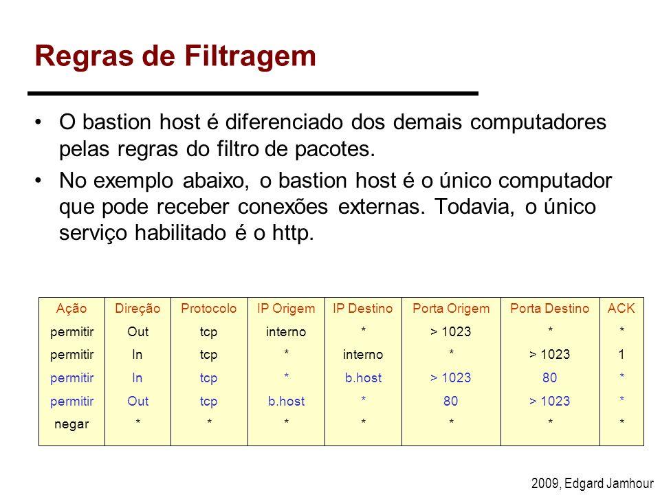 2009, Edgard Jamhour Regras de Filtragem O bastion host é diferenciado dos demais computadores pelas regras do filtro de pacotes. No exemplo abaixo, o