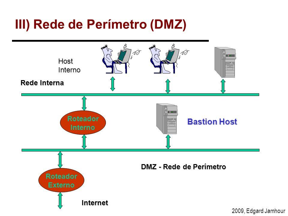 2009, Edgard Jamhour III) Rede de Perímetro (DMZ) Host Interno Internet Roteador Interno Bastion Host DMZ - Rede de Perímetro Rede Interna Roteador Ex