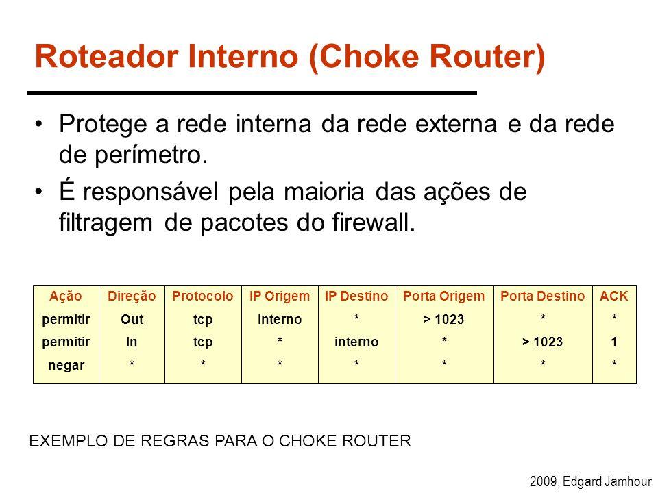 2009, Edgard Jamhour Roteador Interno (Choke Router) Protege a rede interna da rede externa e da rede de perímetro. É responsável pela maioria das açõ