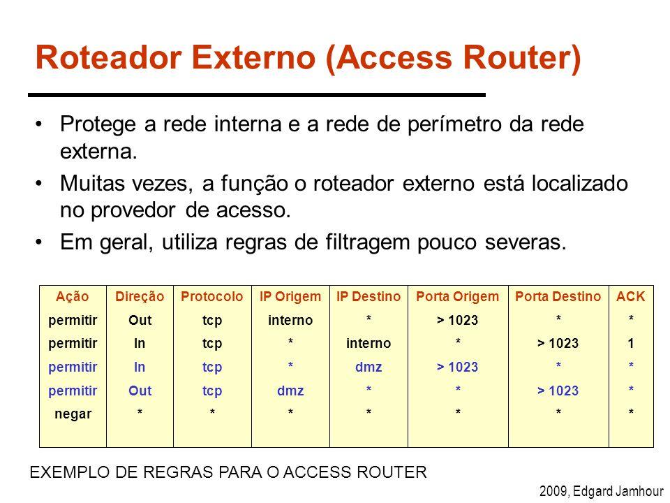 2009, Edgard Jamhour Roteador Externo (Access Router) Protege a rede interna e a rede de perímetro da rede externa. Muitas vezes, a função o roteador