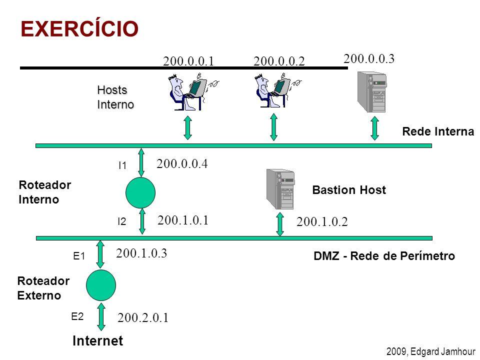 2009, Edgard Jamhour EXERCÍCIO Hosts Interno Internet Roteador Interno Bastion Host DMZ - Rede de Perímetro Rede Interna Roteador Externo I1 I2 E1 E2