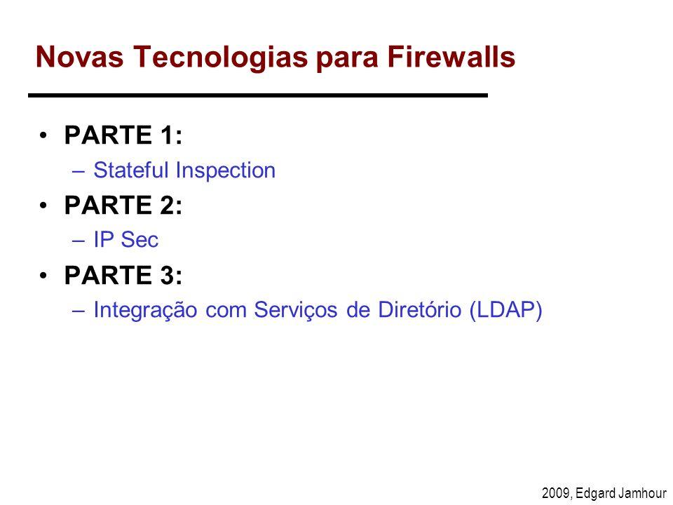 2009, Edgard Jamhour Novas Tecnologias para Firewalls PARTE 1: –Stateful Inspection PARTE 2: –IP Sec PARTE 3: –Integração com Serviços de Diretório (L