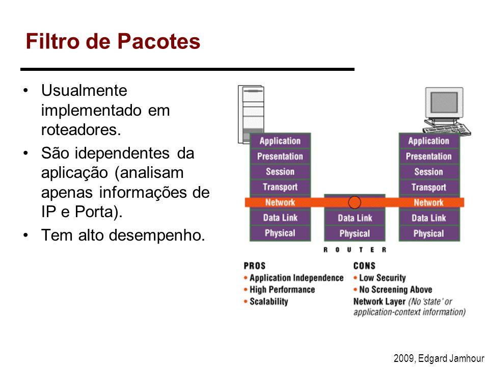 2009, Edgard Jamhour Filtro de Pacotes Usualmente implementado em roteadores. São idependentes da aplicação (analisam apenas informações de IP e Porta