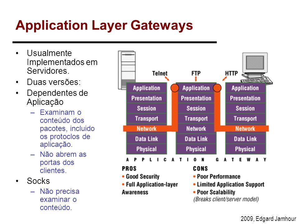 2009, Edgard Jamhour Application Layer Gateways Usualmente Implementados em Servidores. Duas versões: Dependentes de Aplicação –Examinam o conteúdo do