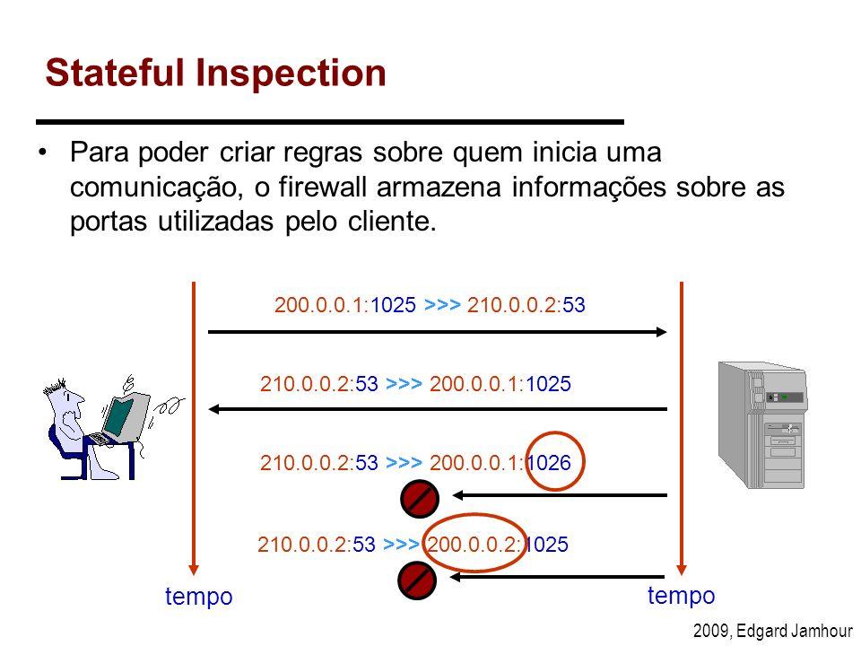 2009, Edgard Jamhour Stateful Inspection Para poder criar regras sobre quem inicia uma comunicação, o firewall armazena informações sobre as portas ut
