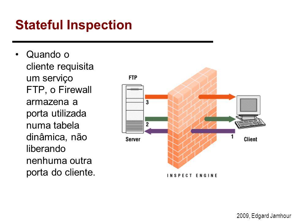 2009, Edgard Jamhour Stateful Inspection Quando o cliente requisita um serviço FTP, o Firewall armazena a porta utilizada numa tabela dinâmica, não li