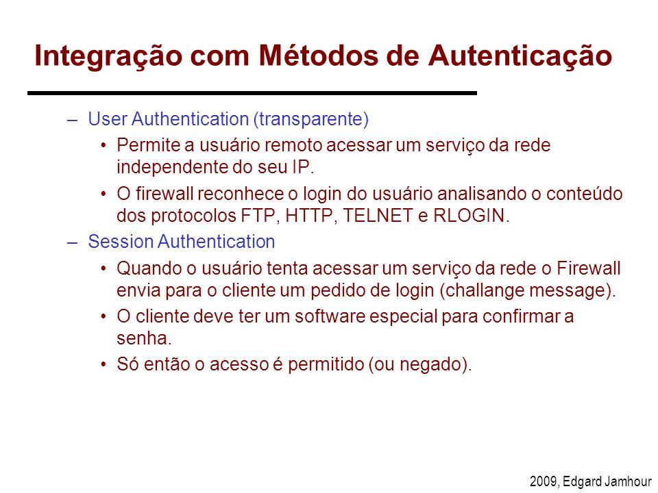 2009, Edgard Jamhour Integração com Métodos de Autenticação –User Authentication (transparente) Permite a usuário remoto acessar um serviço da rede in