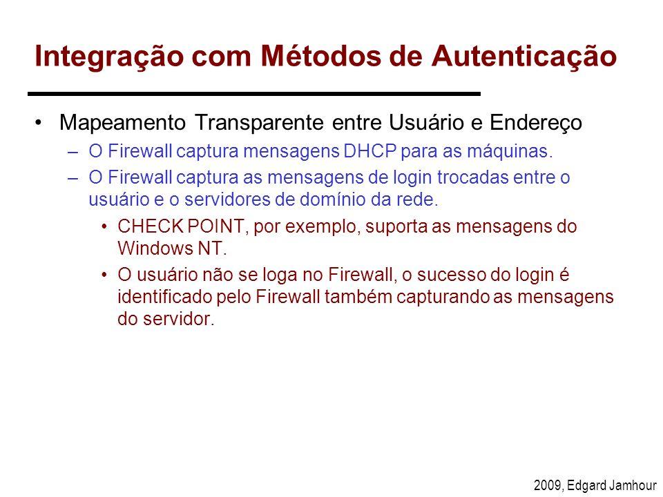 2009, Edgard Jamhour Integração com Métodos de Autenticação Mapeamento Transparente entre Usuário e Endereço –O Firewall captura mensagens DHCP para a