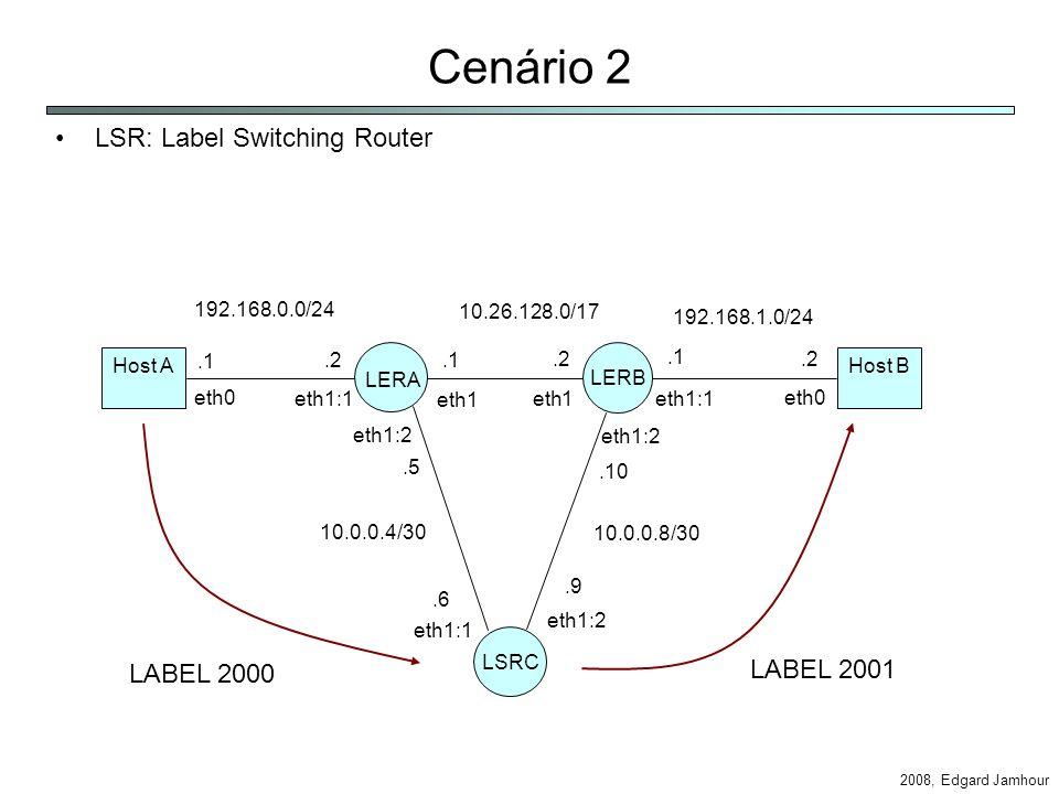 2008, Edgard Jamhour Cenário 2 LSR: Label Switching Router Host AHost B 192.168.1.0/24 10.26.128.0/17 eth0 eth1:1 eth1 eth1:1 eth0 LERA LERB LSRC eth1:2 eth1:1 eth1:2.1 192.168.0.0/24.2.1.2 10.0.0.4/30 10.0.0.8/30.5.6.9.10.1.2 LABEL 2000 LABEL 2001